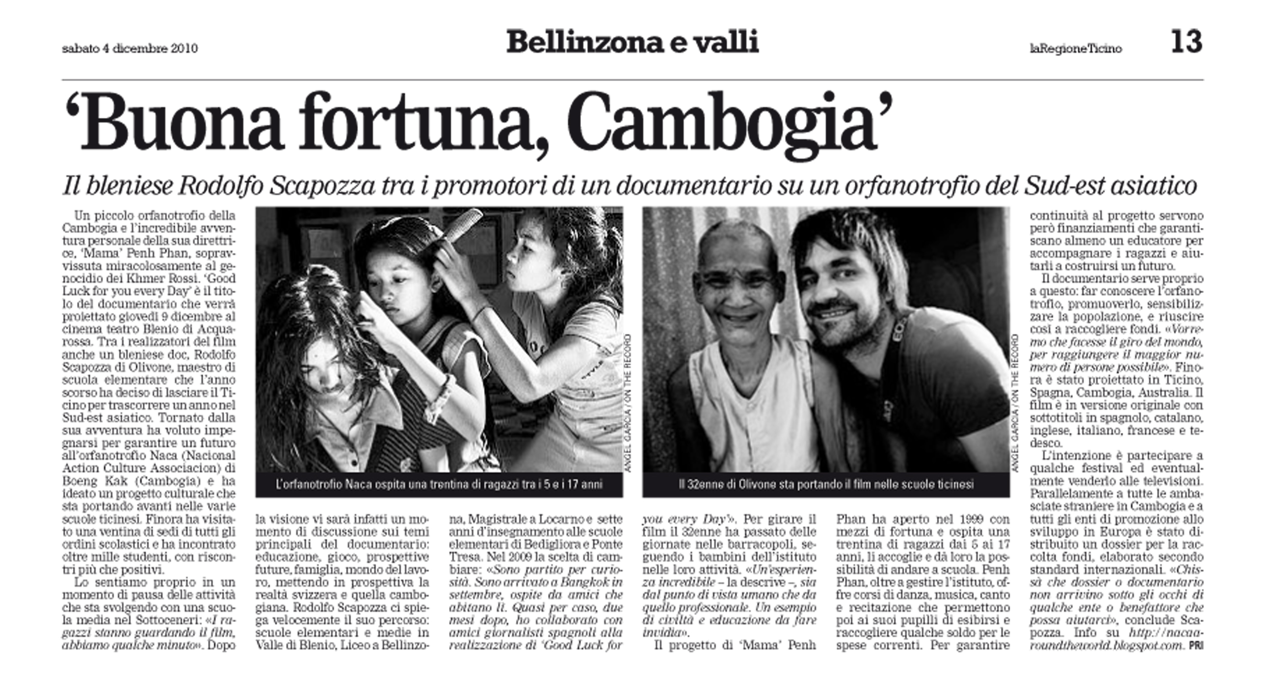 Article 'Buona fortuna, Cambogia'